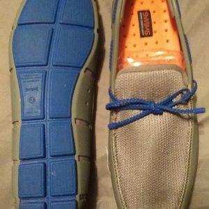 MENS SZ 11 GREY/BLUE SLIP ON LOAFERS NEVER WORN